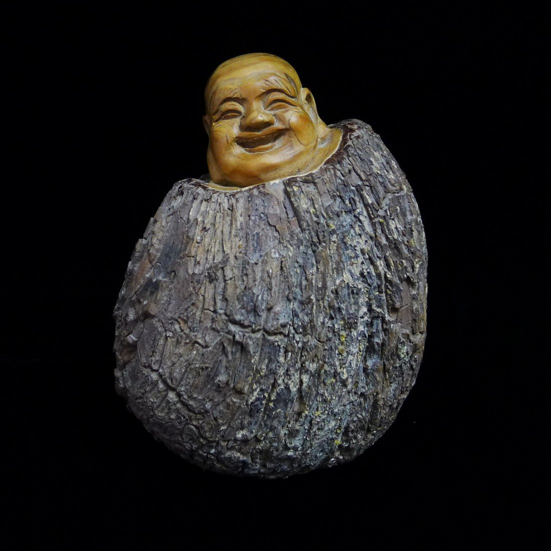 NATURAL ROOT LOCALLY CARVED LAUGHING BUDDHA