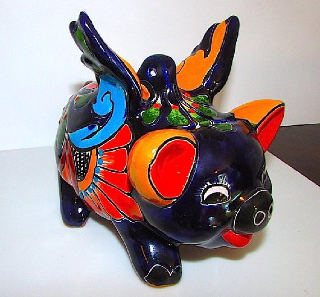 Mexican TALAVERA Flying Pig Piggy Bank Folk Art Lucky