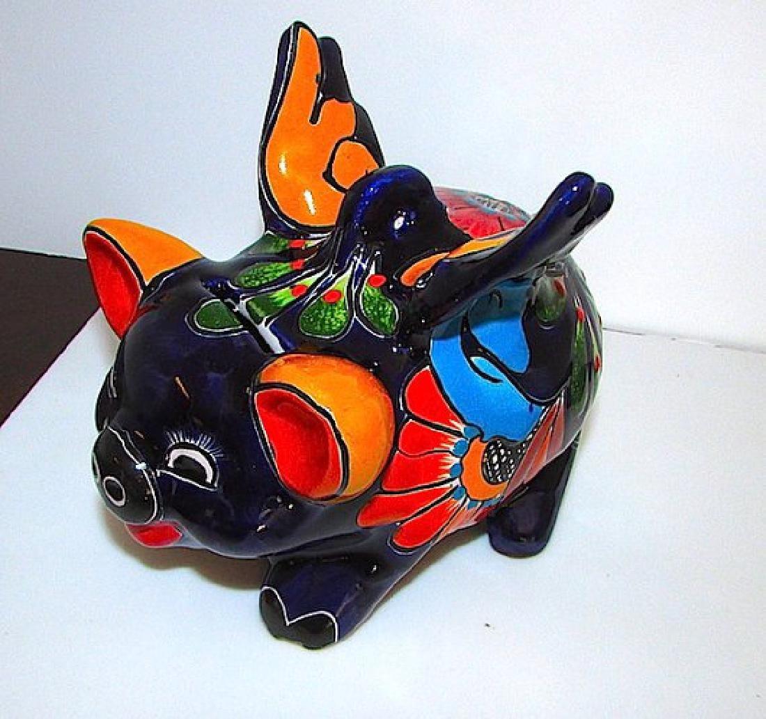 Mexican TALAVERA Flying Pig Piggy Bank Folk Art Lucky - 2