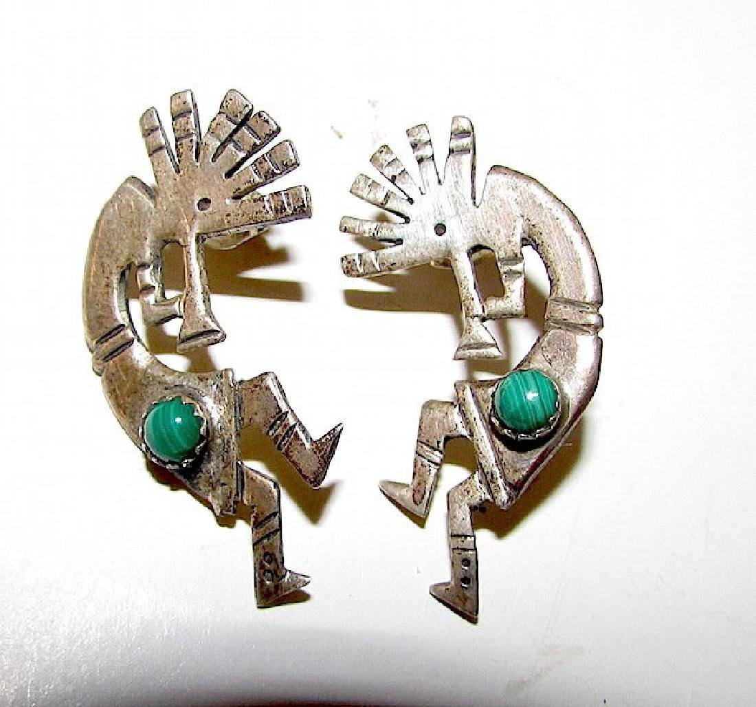Old Pawn Navajo Sterling Kokopelli Earrings