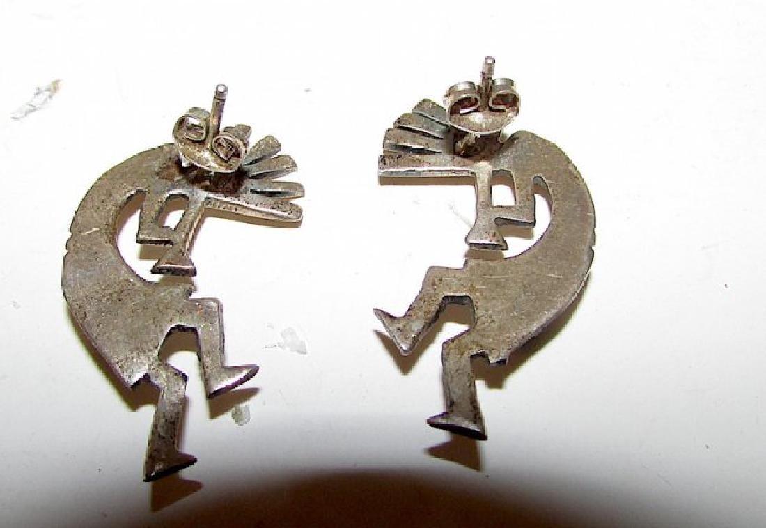 Old Pawn Navajo Sterling Kokopelli Earrings - 2