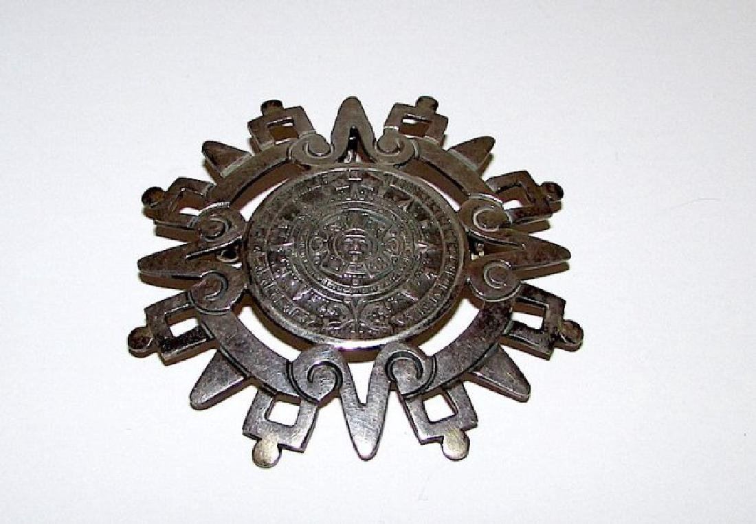 Mexican Taxco Sterling Aztec Maya Calendanr Brooch