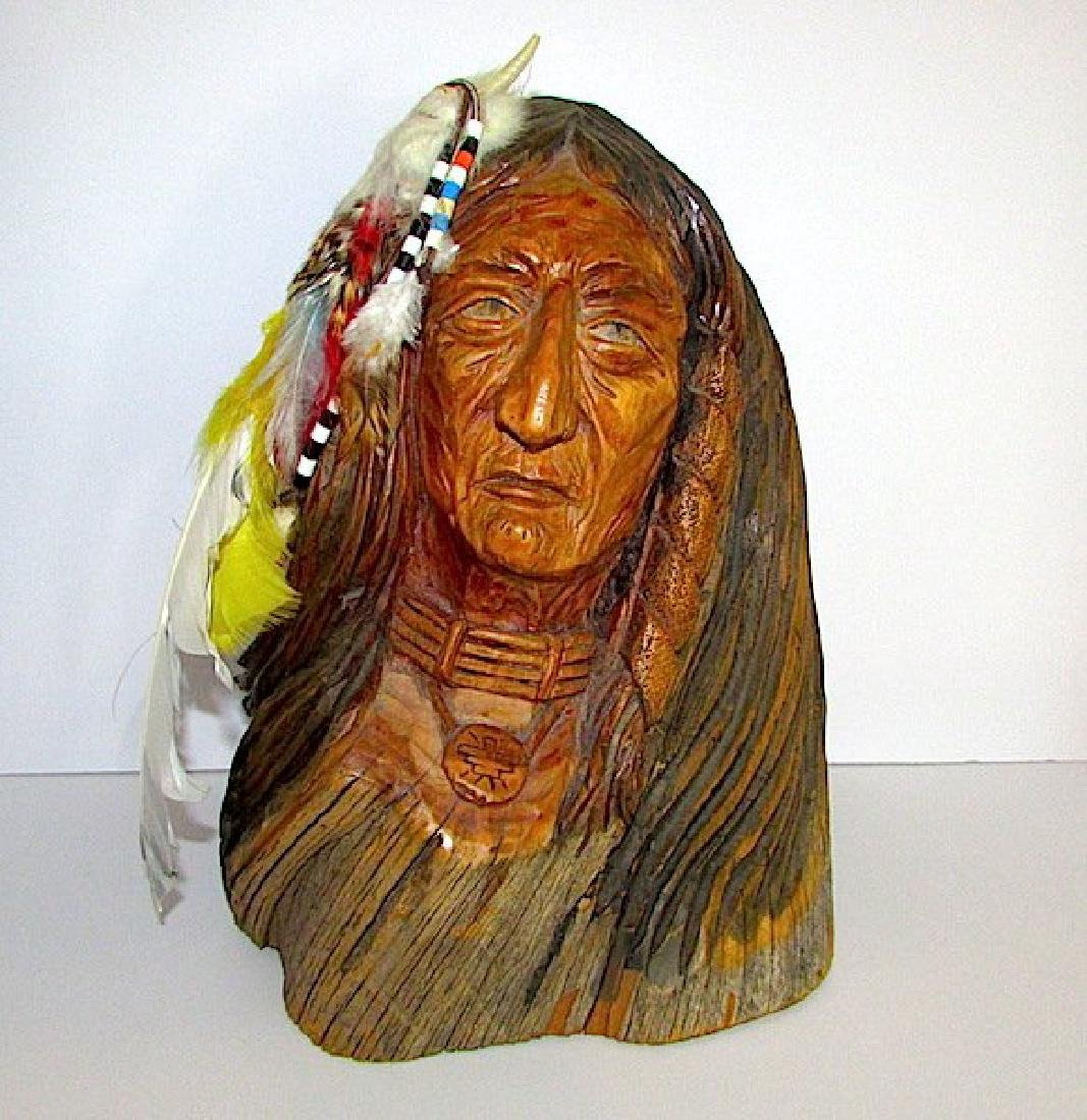 Vintage Native American Driftwood Carved Statue