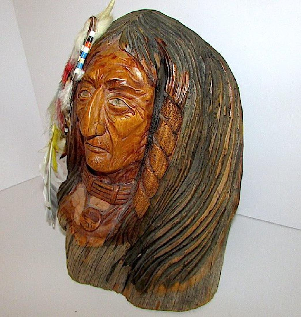 Vintage Native American Driftwood Carved Statue - 2
