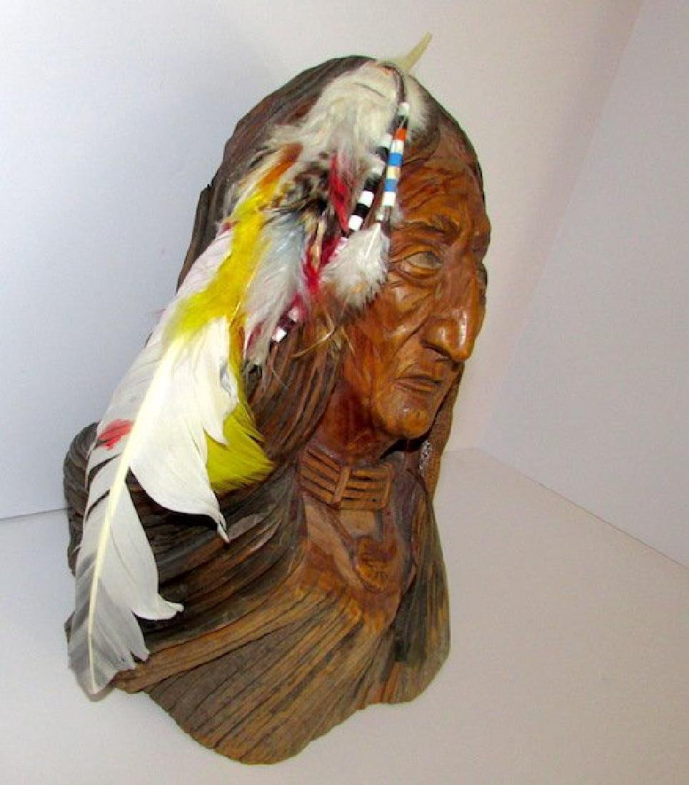 Vintage Native American Driftwood Carved Statue - 3