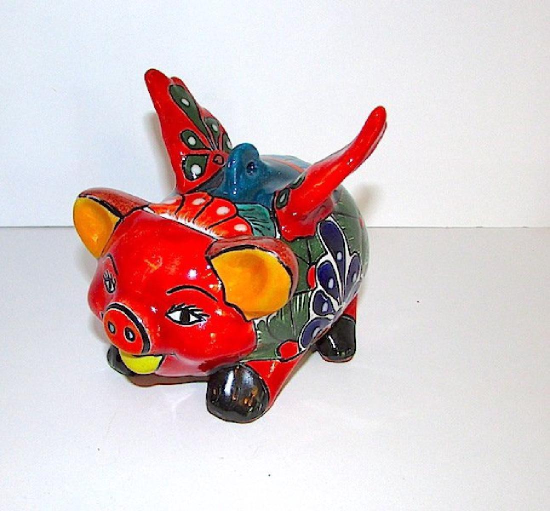 Mexican TALAVERA Flying Pig Piggy Bank Folk Art
