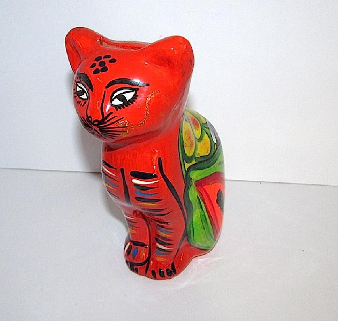 Vintage Mexican Folk Art Pottery Cat Piggy Bank