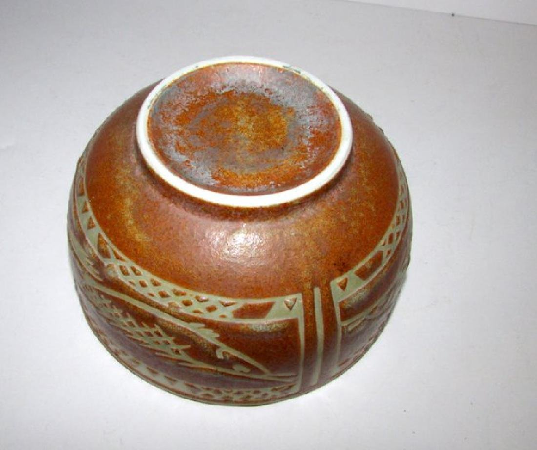 Mexican Folk Pottery Fish Bowl - 2