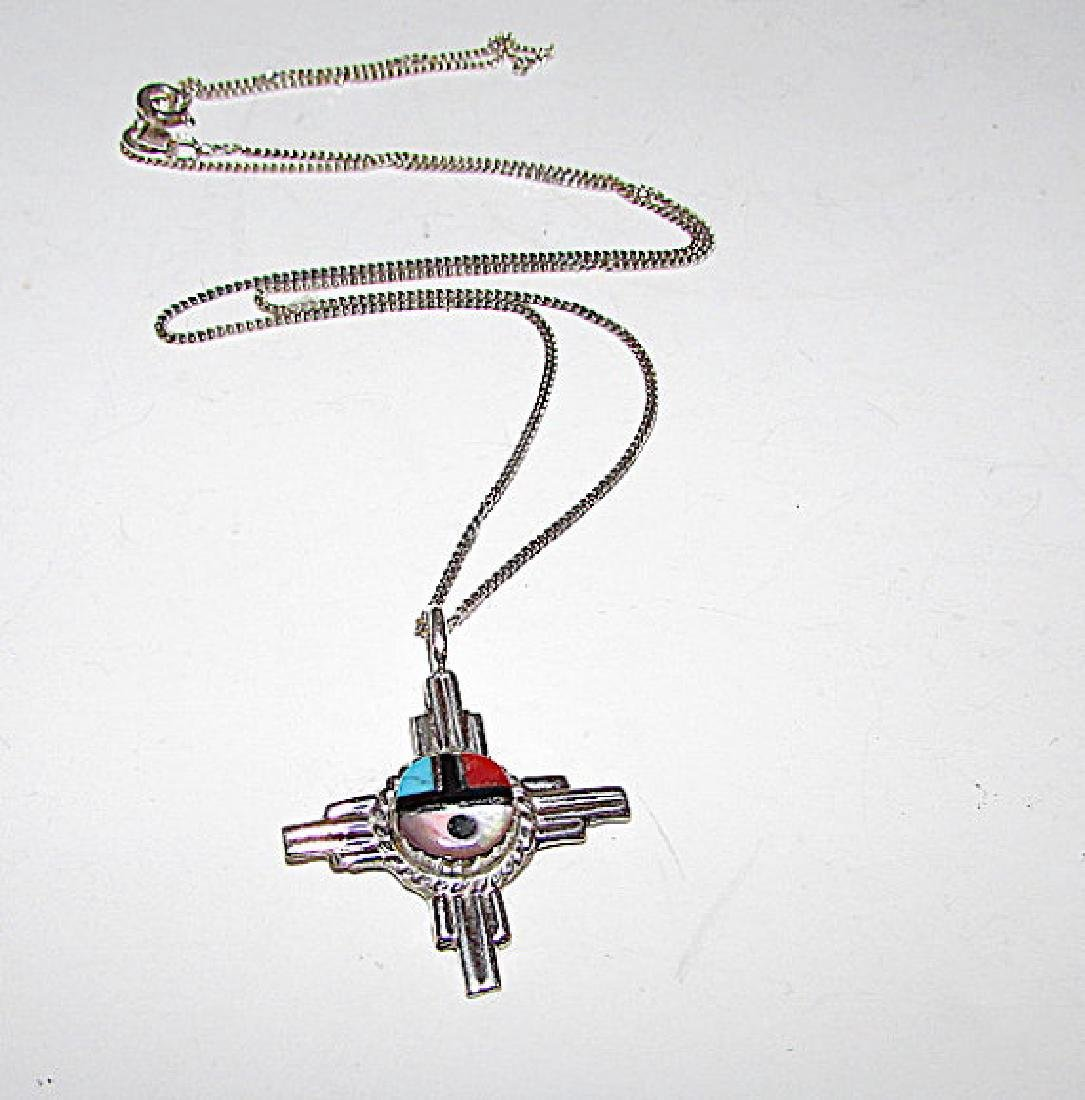 Native American Zuni Sterling Silver Turquoise Coral