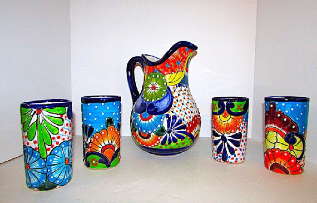 Mexican Talavera Pottery Decorative Folk Art Pitcher