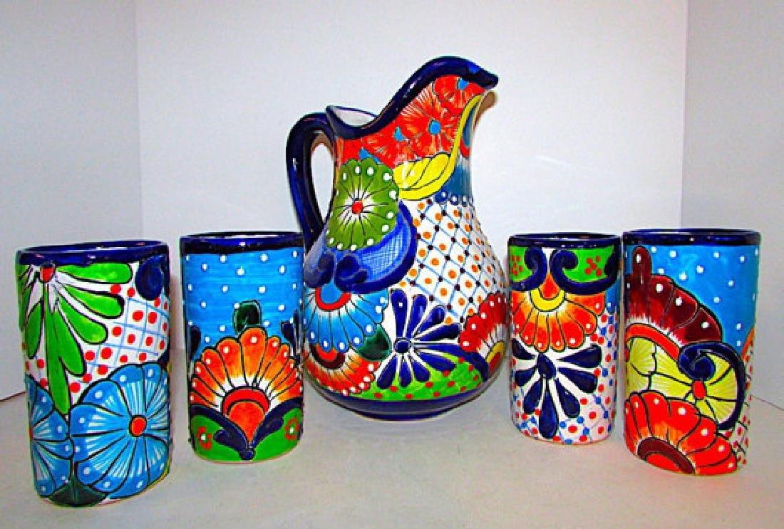 Mexican Talavera Pottery Decorative Folk Art Pitcher - 2