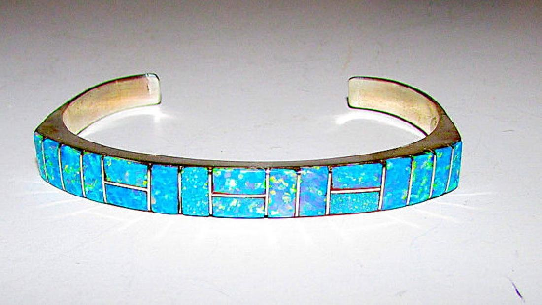 Navajo Sterling Silver Fire Opal Inlay Statement Cuff