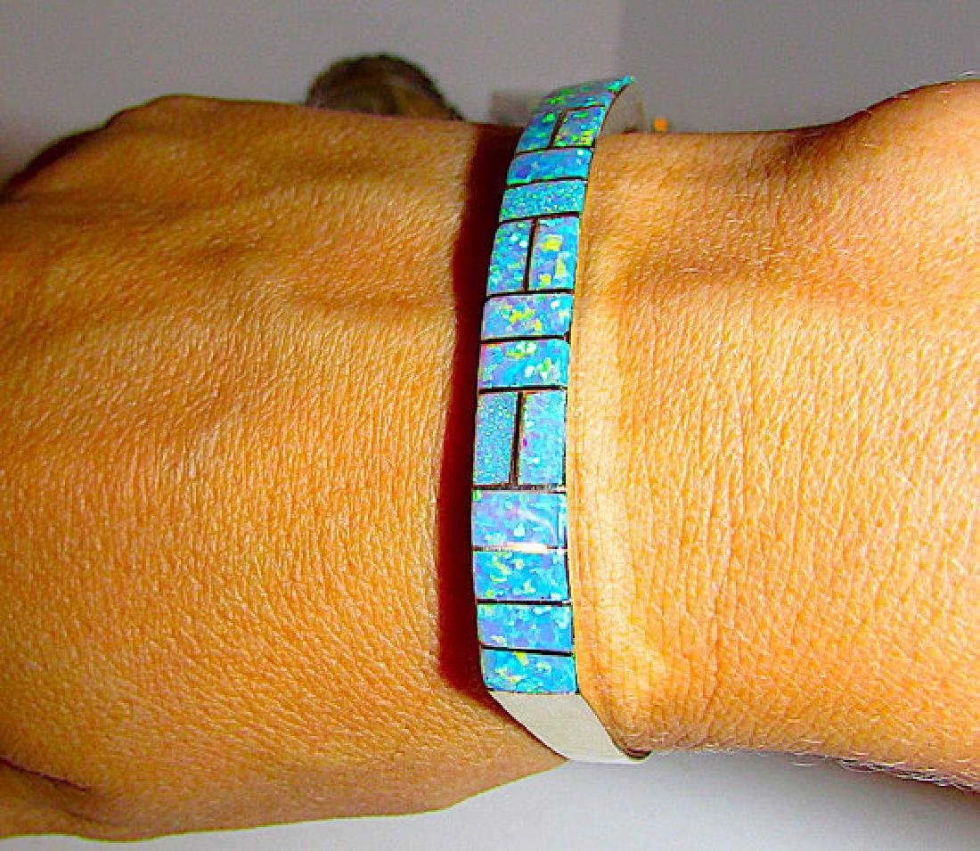 Navajo Sterling Silver Fire Opal Inlay Statement Cuff - 3
