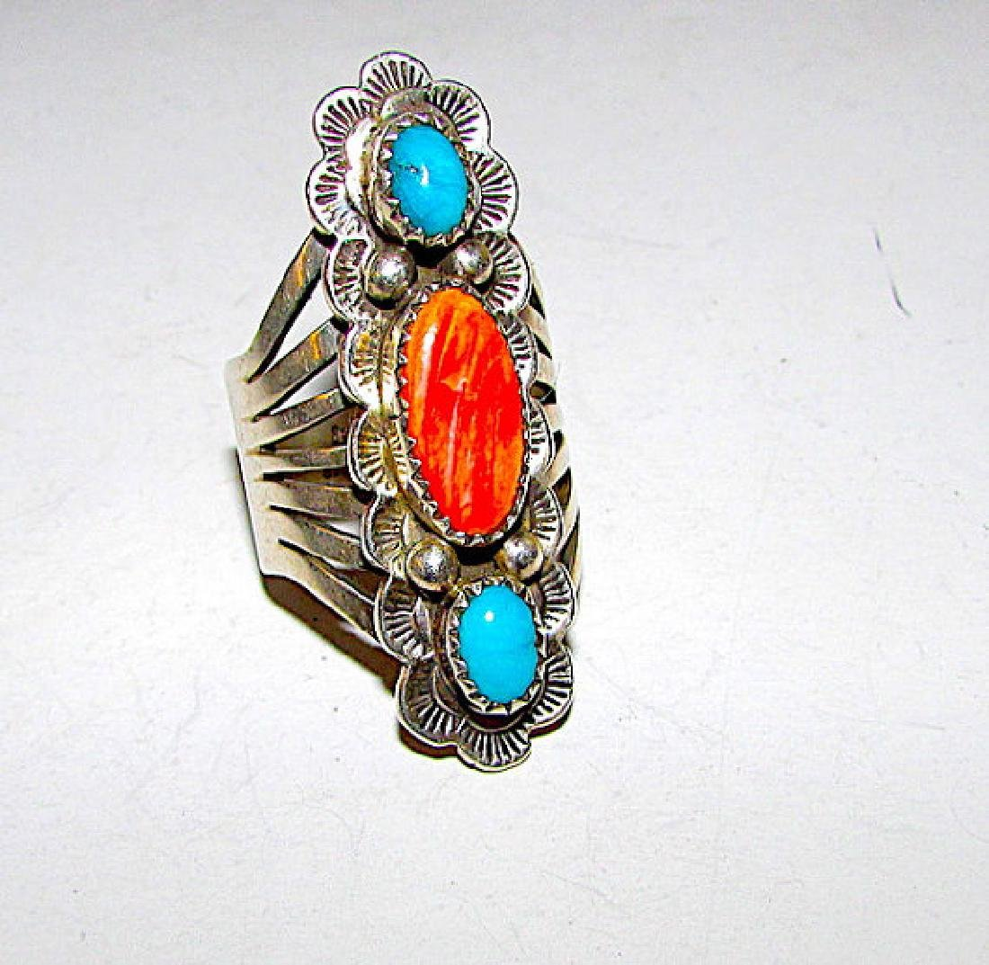Vintage Navajo Sterling Silver Turquoise Spiny Oyster