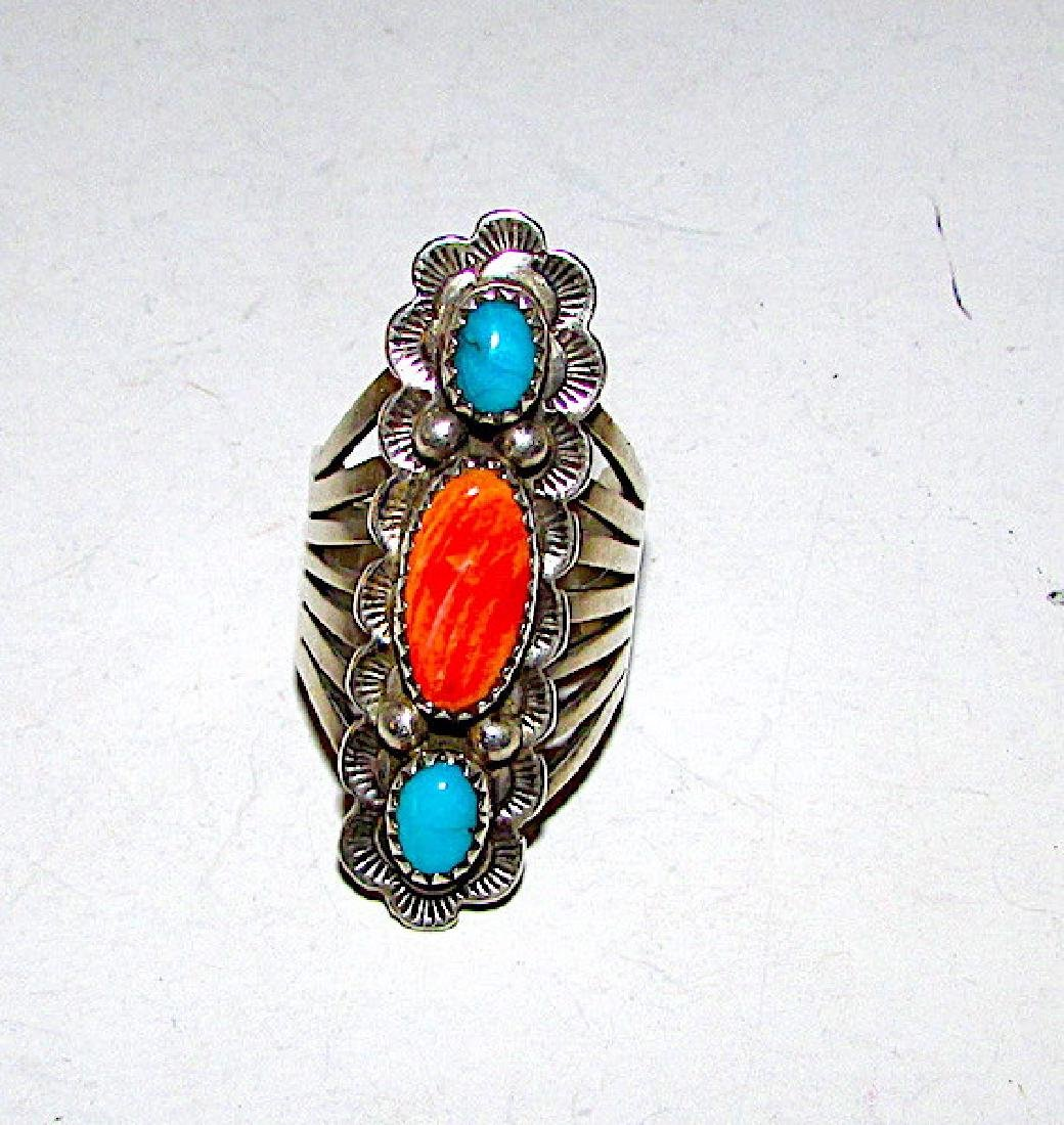 Vintage Navajo Sterling Silver Turquoise Spiny Oyster - 2