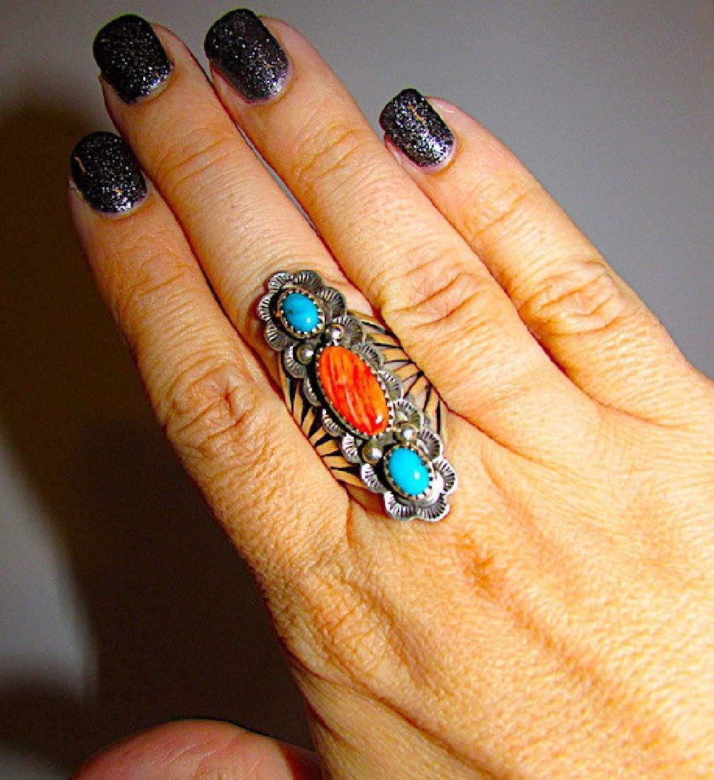Vintage Navajo Sterling Silver Turquoise Spiny Oyster - 3