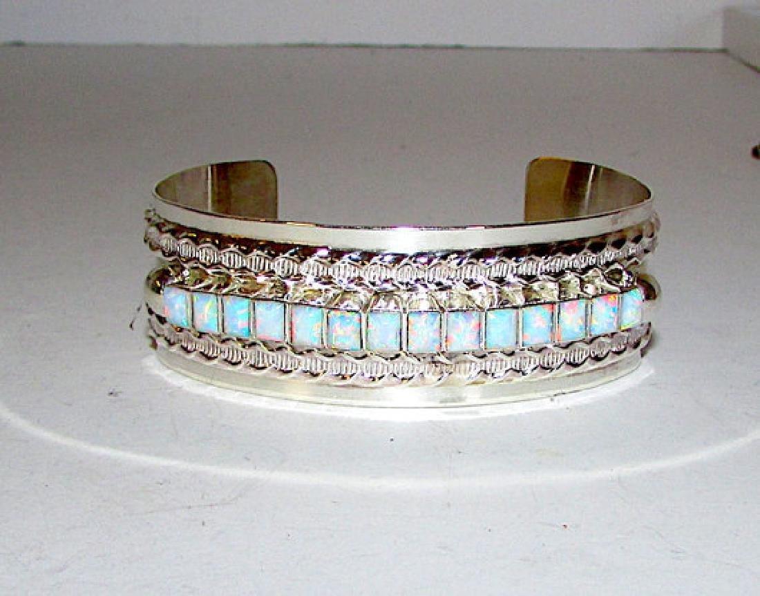 Vintage Navajo Sterling Silver 925 Opal Statement Cuff