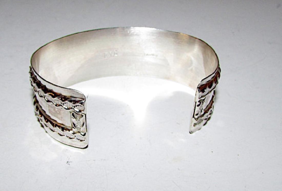 Vintage Navajo Sterling Silver 925 Opal Statement Cuff - 2