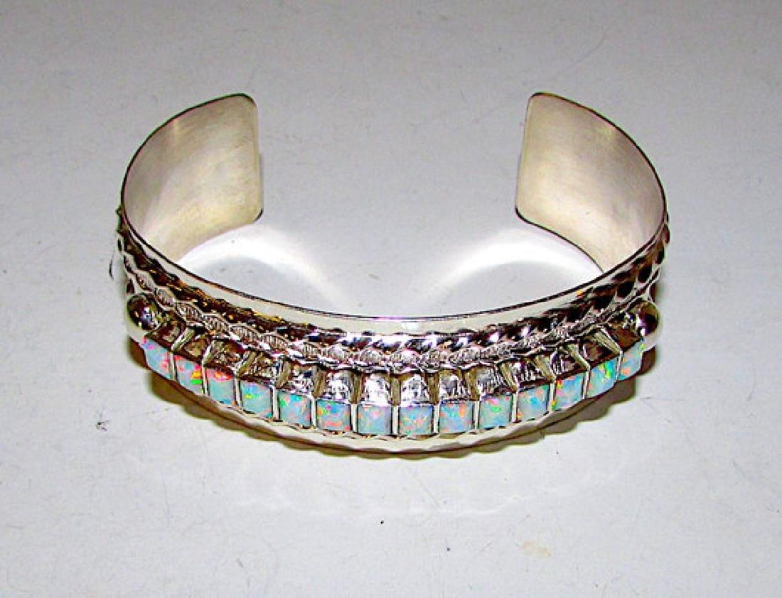 Vintage Navajo Sterling Silver 925 Opal Statement Cuff - 3
