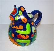 Mexican Folk Art Talavera Pottery Frog Effigy Pitcher