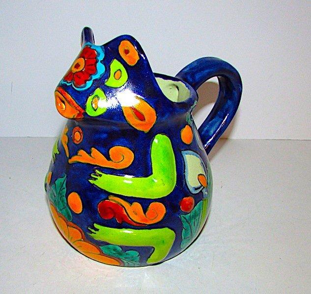 Mexican Folk Art Talavera Pottery Frog Effigy Pitcher