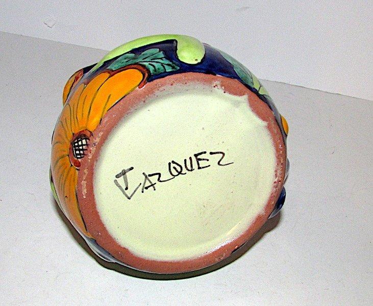 Mexican Folk Art Talavera Pottery Frog Effigy Pitcher - 3