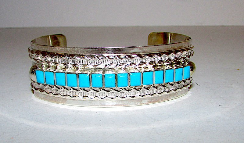 Navajo Sterling Turquoise Cuff Bracelet - 2