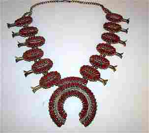 Old Pawn Navajo Sterling Coral Squash Blossom Necklace