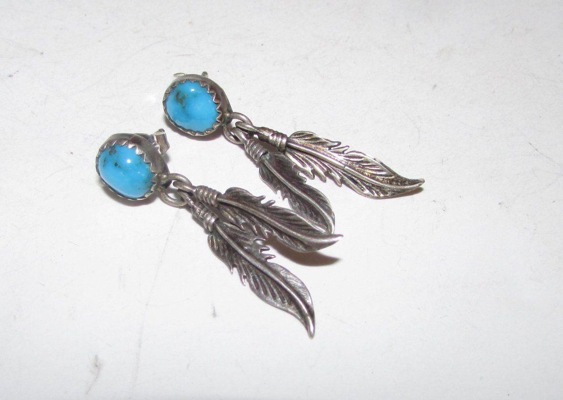 Old Pawn Navajo Sterling Turquoise Earrings