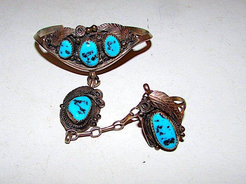 Old Pawn Sterling Turquoise Navajo Slave Bracelet Ring