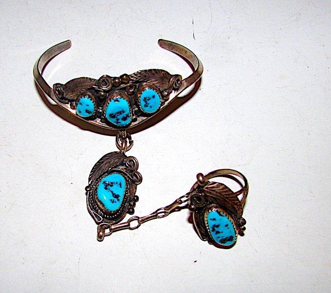 Old Pawn Sterling Turquoise Navajo Slave Bracelet Ring - 2