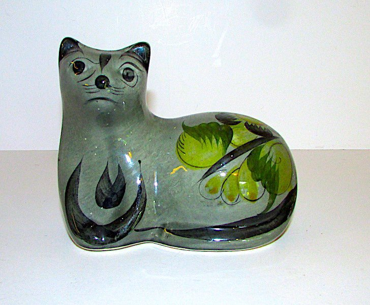Vintage Mexican Tonala Cat Figurine
