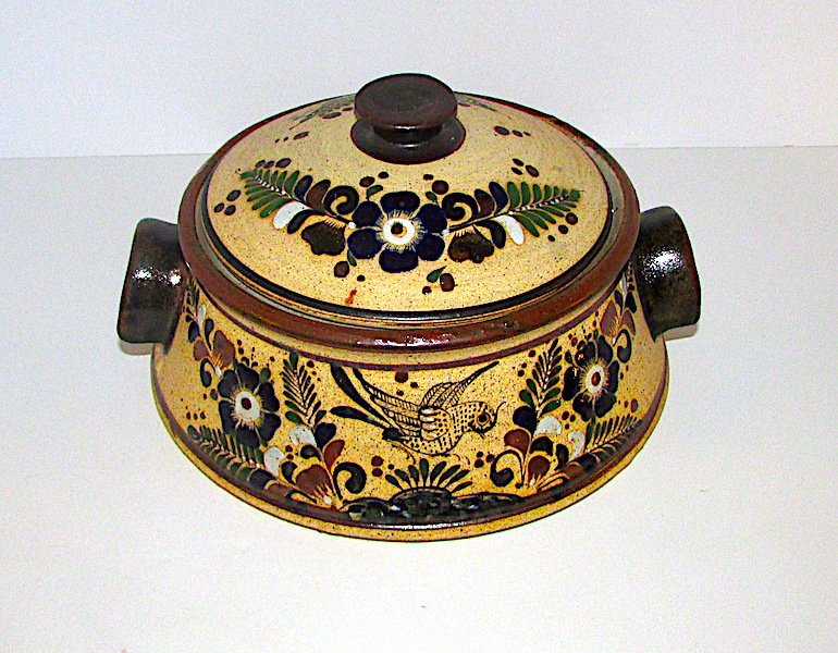 Vintage Mexican Tonala Pottery Jar with Lid