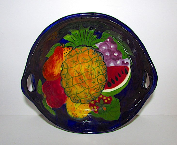 Mexican Talavera Pottery Fruit Bowl With Handles