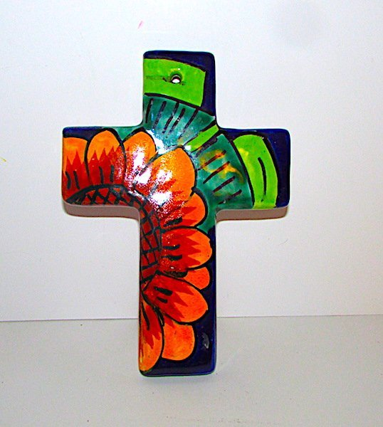 Vintage Mexican Talavera Pottery Cross