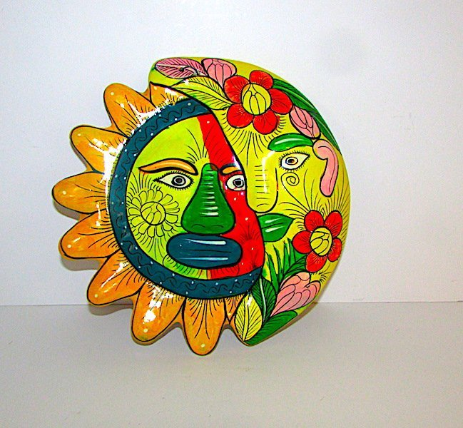Vintage Mexican Talavera Sun Moon Decor Wall Art