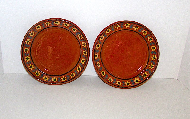 Vintage Mexican Tlauepaque Pottery Plates Set of 2