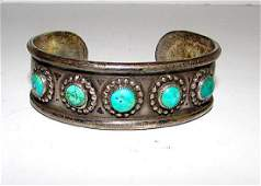 Old Pawn Zuni Sterling Silver Turquoise Cuff Bracelet