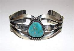 Navajo Pete Morgan Sand Cast Sterling Silver High Grade