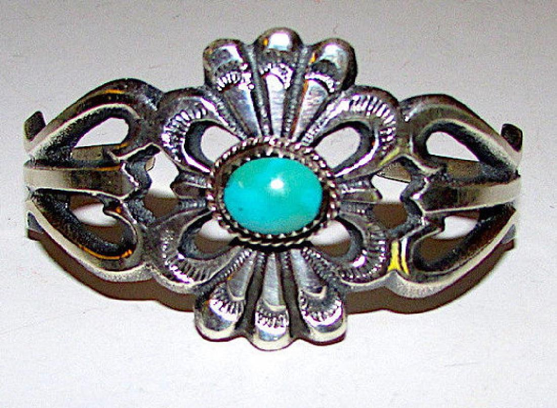 Navajo Sand Cast Sterling Silver Turquoise Cuff