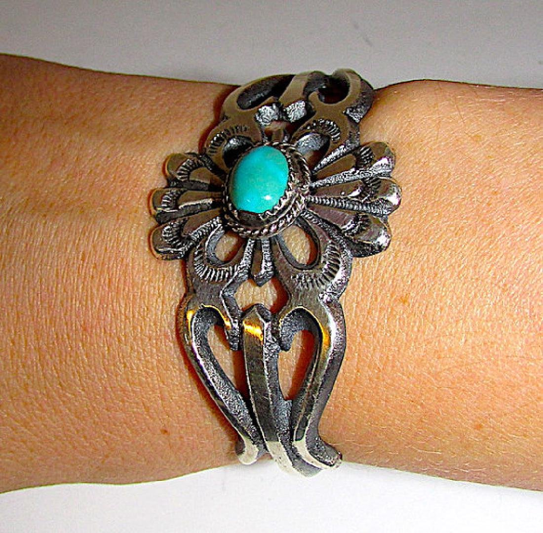 Navajo Sand Cast Sterling Silver Turquoise Cuff - 3