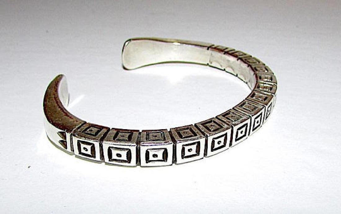 Navajo Sterling Silver Cuff Bracelet with Heavy Hand