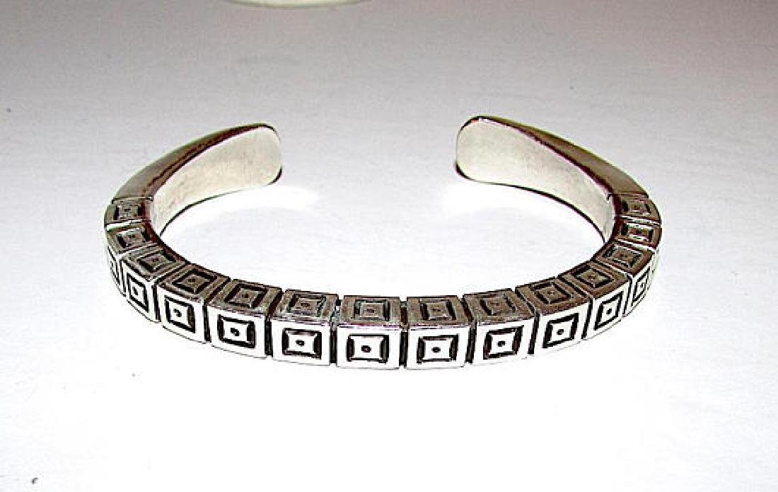 Navajo Sterling Silver Cuff Bracelet with Heavy Hand - 2