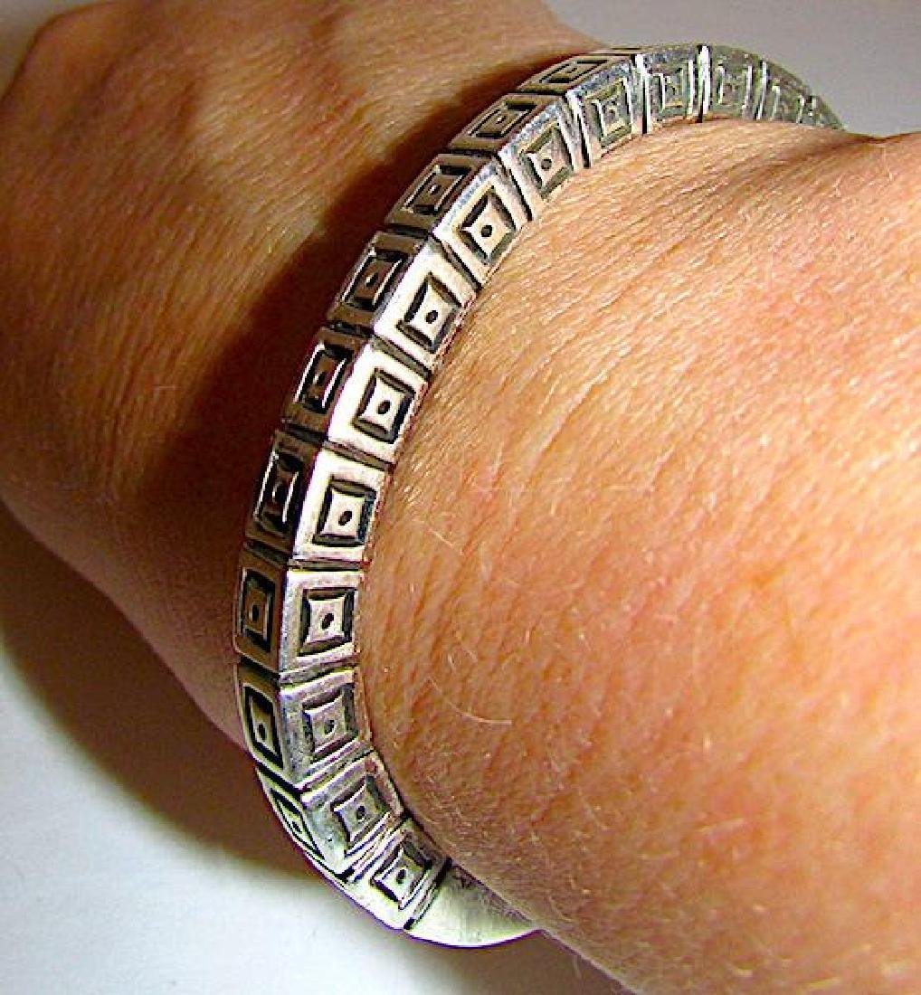 Navajo Sterling Silver Cuff Bracelet with Heavy Hand - 4