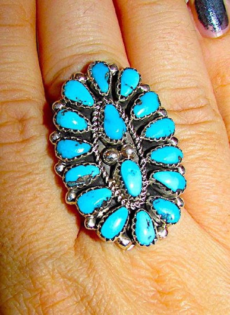 Navajo Eric Wilson Sterling Silver Kingman Turquoise - 3
