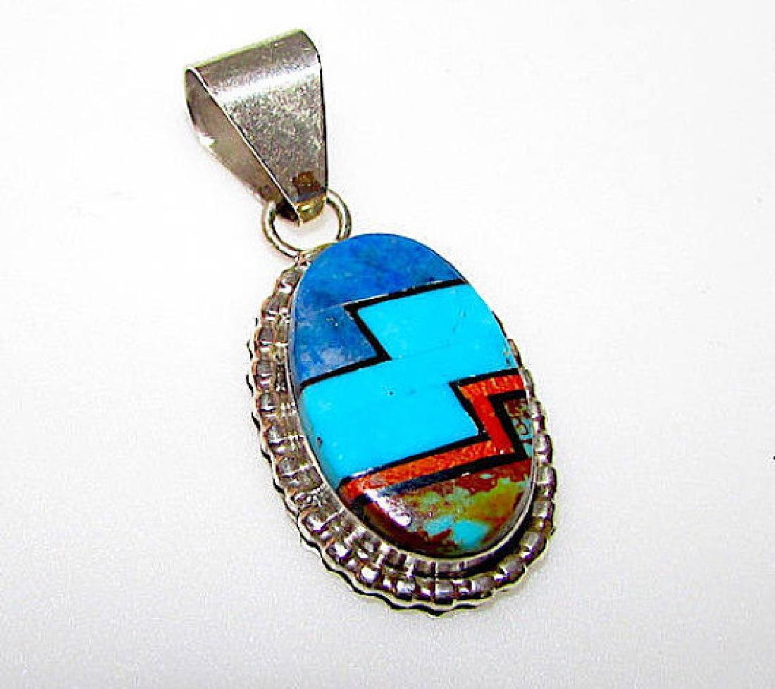 Navajo Sterling Silver Turquoise Coral Lapis Pendant