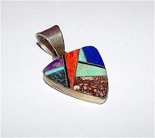Navajo Calvin Begay Pendant Sterling Silver Turquoise