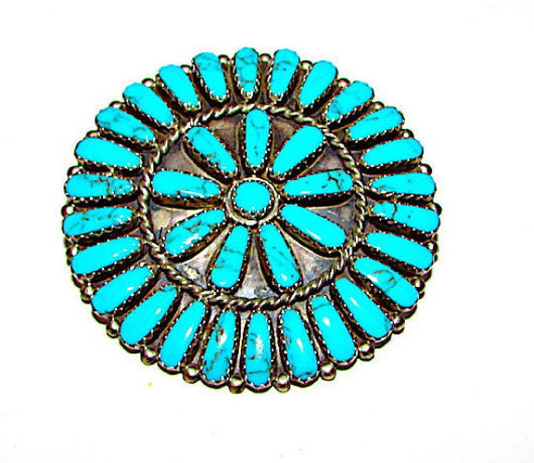 Navajo Sterling Silver Turquoise Rosette Cluster Brooch