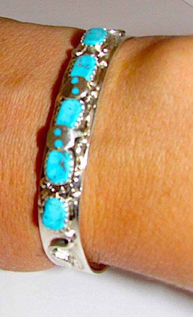 Zuni Sterling Silver Sleeping Beauty Mine Turquoise - 3