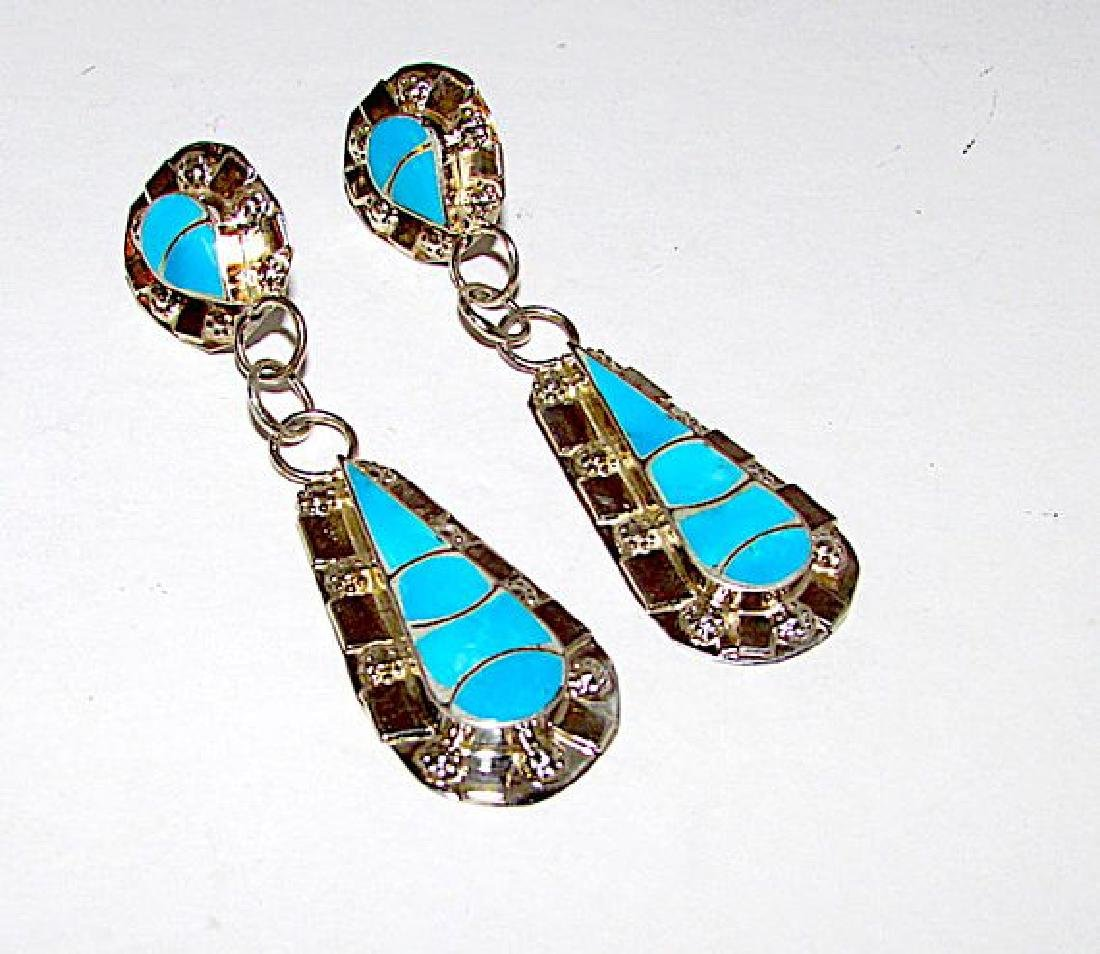 Native American Zuni Sterling Silver Turquoise Inlay